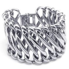 KONOV Large Heavy Wide Stainless Steel Biker Mens Bangle Bracelet Color Silver * Check this awesome product by going to the link at the image.