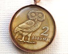 Vintage Owl Greek Coin Pendant
