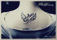 comic style angel wing tattoo designs on the back with heart in middle – take out heart and add the word truth or trust or hope