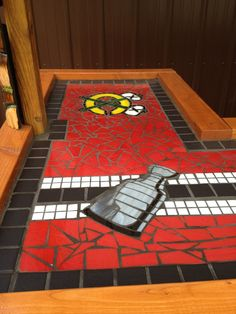 Another view... Hockey Crafts, Hockey Decor, Hockey Man Cave, Man Cave Bar, Blackhawks Hockey, Chicago Blackhawks, Hockey Bedroom, Mosaic Stepping Stones, Attic Remodel