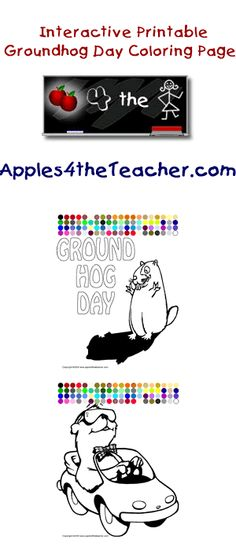 Printable interactive Groundhog Day coloring pages, Groundhog Day coloring pages for kids  http://www.apples4theteacher.com/coloring-pages/ground-hog-day/