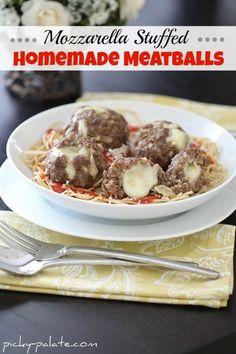 Mozzarella Stuffed Homemade Meatballs.  Perfect weeknight dinner!