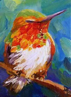 "Daily Paintworks - ""Resting Hummer"" - Original Fine Art for Sale - © Dana C"