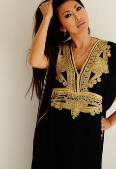Black with Gold Embroidery Marrakech Resort Kaftan