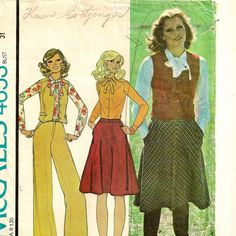 A Preppy Separates Pattern: Button Front Vest, Slim Fit Long Sleeve Blouse with Tie Collar, Flared Skirt and Wide Leg Pants, Vintage 1975