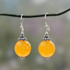 Shop for Handmade Sterling Silver 'Glorious Yellow' Chalcedony Earrings (India) - Yellow. Get free delivery On EVERYTHING* Overstock - Your Online Jewelry Destination! Bridesmaid Jewelry Sets, Bridesmaid Earrings, Silver Necklaces, Sterling Silver Earrings, Silver Rings, Dangle Earrings, Earrings Crafts, Earrings Handmade, Jewellery Uk