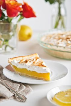 Tart and sweet vegan lemon meringue pie—no eggs required! The filling uses agar and arrowroot, and the meringue is made from fluffy aquafaba.