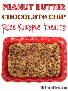 Peanut Butter Chocolate Chip Rice Krispie Treats Recipe ~ from TheFrugalGirls.com