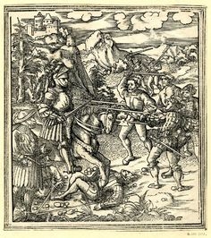 Artist. Beck, Leonhard, Title: Theuerdank is attacked by a number of armed men, Date: ca. 1517