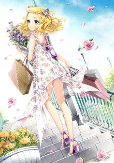 this is quite the pretty anime girl wallpaper. She has a lot of lovely flowers and the like. Her dress is really pretty.