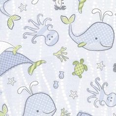 Nursery Fabric-Under The Sea Animals, , hi-res