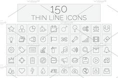 150 Thin Line Icons by sibgat on @creativemarket