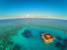 Manta Resort, Tanzania  We are dying to check out this amazing resort. The Manta Resort offers the world's first completely submerged underwater bedroom. The islands above are home to whale sharks, manta rays, dolphins, turtles and vast coral reef. It is simply unreal!