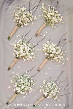 Gypsophila, Twigs & Twine Buttonholes....simple but fabulous... Wedding & Events Floral Design www.weddingandevents.co.uk North Yorkshire Wedding Flowers