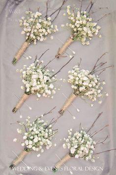 Gypsophila, Twigs & Twine Buttonholes....simple but fabulous... Wedding & Events Floral Design www.weddingandevents.co.uk