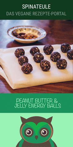Vegane Peanut Butter & Jelly Energy Balls mit Haferflocken, Erdnussbutter, Mandeln, Chia-Samen, Blaubeeren, ...
