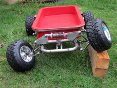 Custom radio flyer wagon pics and ideas? Custom Radio Flyer Wagon, Radio Flyer Wagons, Mini Buggy, Diy Go Kart, Auto Retro, Drift Trike, Suspension Design, Power Wheels, Red Wagon