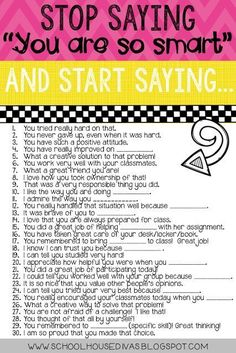 Several examples of ways you can specifically compliment your students!