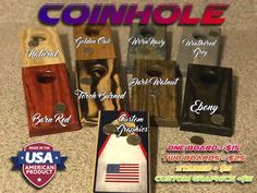 Welcome to the newest hottest game hitting the streets! COINHOLE ...Coinhole takes everything you love about Cornhole and puts it on your table top, bar top, or desk.  This makes an excellent inexpensive birthday gift, stocking stuffer, groomsman gift, etc...  Add your favorite stain color or custom graphics to represent your bar, company, or family name!  SPECS:  Size= 3.5 wide x 7 long  Hole= 1.25  Material= 3/4 Solid Southern Yellow Pine Top edges are routed to give a soft finished look…