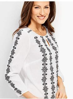 Shop Talbots for modern classic women's styles. You'll be a standout in our Embroidered Gauze Shirt - only at Talbots! Classic Style Women, Classic Looks, Mexican Shirts, Afghan Clothes, Block Dress, Gauze Fabric, Blouse Patterns, Summer Wear, Talbots