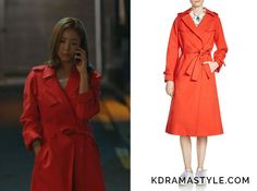 Bride of the Water God Episode Yoon So Ah's Red Trench Coat - KdramaStyle Bride Of The Water God, Shin Se Kyung, Red Trench Coat, Look 2017, Maje, Korean Actresses, Korean Fashion, New Look, Wrap Dress