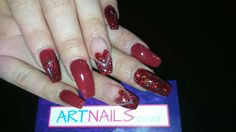 Red and glitter valentines nails i did with acrylic Acrylic Nail Art, Glitter Nail Art, Valentines, Red, Valentines Day, Valentine's Day, Acrylics, Rouge, Valentine Cards