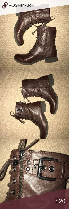Women's Guess Combat Boots These are dark brown! They are in good condition! Size 9 women's G by Guess Shoes Combat & Moto Boots
