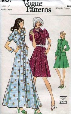 FREE US SHIP Vogue 8537 Vintage Retro 1970s 70s Maxi Shirtdress Dress Uncut 10 Bust 32.5 Vintage Sewing Pattern by LanetzLivingPatterns on Etsy
