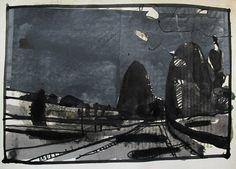 The Black Pictures Late Road Original Landscape Collage