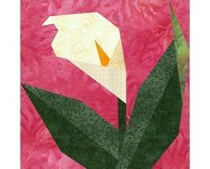 dogwood quilt pattern | Calla Lily Paper pieced quilt block by PieceByNumberQuilts