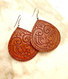 Hand Carved Leather Earrings on Etsy, $22.00