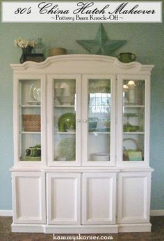 My friend, Marie, spotted a beautiful white hutch filled with greens and aqua blues in the Pottery Barn Catalog. Dinning Room Buffet, Dining Table Makeover, Paint Furniture, Furniture Makeover, Furniture Ideas, Painted China Cabinets, Painted Hutch, China Hutch Makeover, White Hutch