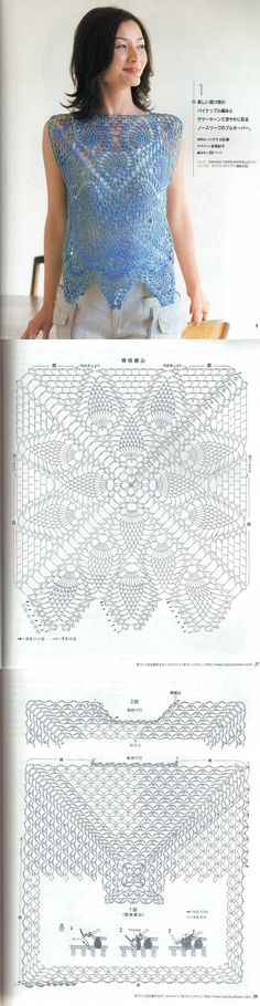 crochet shirt made with 2 large motifs