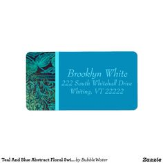 Teal And Blue Abstract Floral Swirls Name Address Label