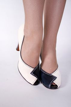 Vintage 1940s Shoes   War Era Navy Blue and White by FabGabs, $134.00