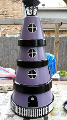 Clay pot lighthouse with solar powered light k goad for Where to buy solar lights for crafts
