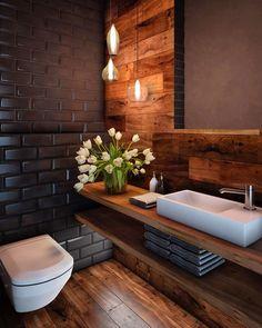 60 stunning small bathroom makeover ideas 70 ~ Design And Decoration Bad Inspiration, Bathroom Inspiration, Interior Design Inspiration, Design Ideas, Big Design, Wood Interior Design, Wood Design, Modern Interior, Interior Architecture