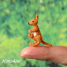 Miniature amigurumi Kangaroo - with Joey. Comes with FREE display box. Kawaii Crochet, Crochet Teddy, Crochet Bunny, Cute Crochet, Crochet Animals, Crochet Crafts, Yarn Crafts, Crochet Projects, Miniature Dogs