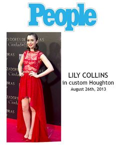 Lily Collins wearing Houghton gown August, 2013