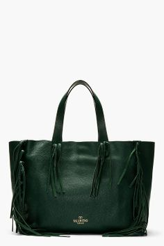 50cfe8a9947 VALENTINO Emerald green leather FRINGEd TOTE bag Leather Fringe
