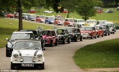Mini crocodile: A line of Minis make their way through Crystal Palace Park in May of 2009 to celebrate Mini's 50th anniversary! #minicooper #crocodile #anniversary