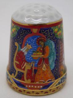 Rusia, porcelana pintada a mano, Asociación Etude: replicated thimble by Galina Gorbaneva. Rejuvenating Apples. Thimble-Dedal-Fingerhut.