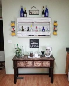 DIY coffee & wine bar made out of a reclaimed buffet table and a pallet!