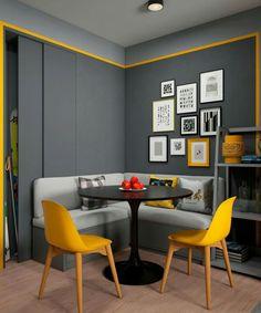 Sala tons cinzento e amarelo