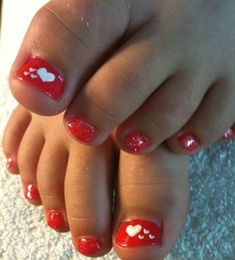 34 Trendy Nails Art Designs For Toes Valentines Day Pedicure Nail Art, Pedicure Designs, Pink Nail Designs, Toe Nail Art, Manicure And Pedicure, Pedicure Ideas, Pretty Toe Nails, Fancy Nails, Trendy Nails
