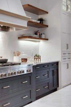 Trendy kitchen colors with white cabinets blue hoods ideas Farmhouse Kitchen Cabinets, Farmhouse Style Kitchen, Modern Farmhouse Kitchens, Kitchen Cabinet Design, Home Decor Kitchen, New Kitchen, Kitchen Ideas, Kitchen White, Kitchen Tips