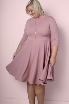 Ava Mock Neck Dress - Mauve