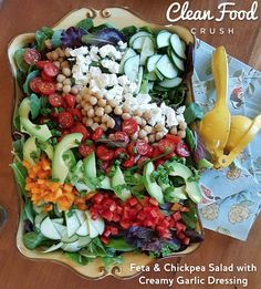 Feta & Chickpea Salad with Creamy Garlic Dressing | Clean Food Crush