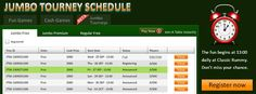 Introducing #Jumbo Glory at Classic Rummy.   Play thrilling Multi Table #Tournaments daily.   Find the schedule given below. Hurry! Book your seat now.   #Play #free and win real cash  https://www.classicrummy.com/rummy-games/rummy-jumbo-tournaments?link_name=CR-12