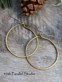 Bronze Hoop Earrings Hammered Bronze Hoop by 45thParallelStudio